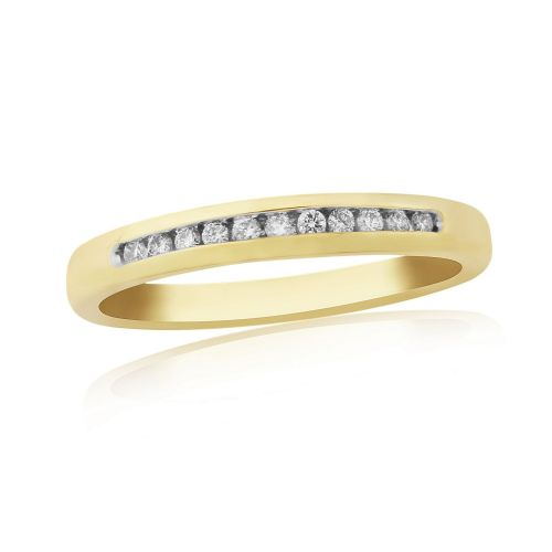 Eternity Ring Diamond Yellow Gold Channel Set 10 Points